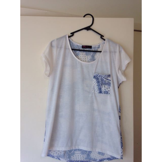 Blue & White Patterned T-Shirt