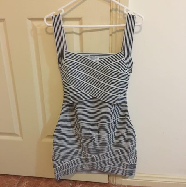 Body-con Striped Bandage Dress