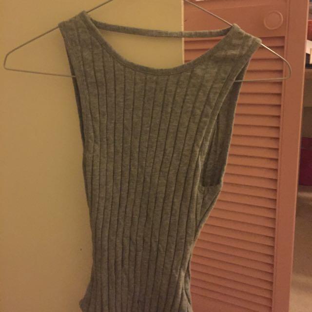 Grey backless bodysuit