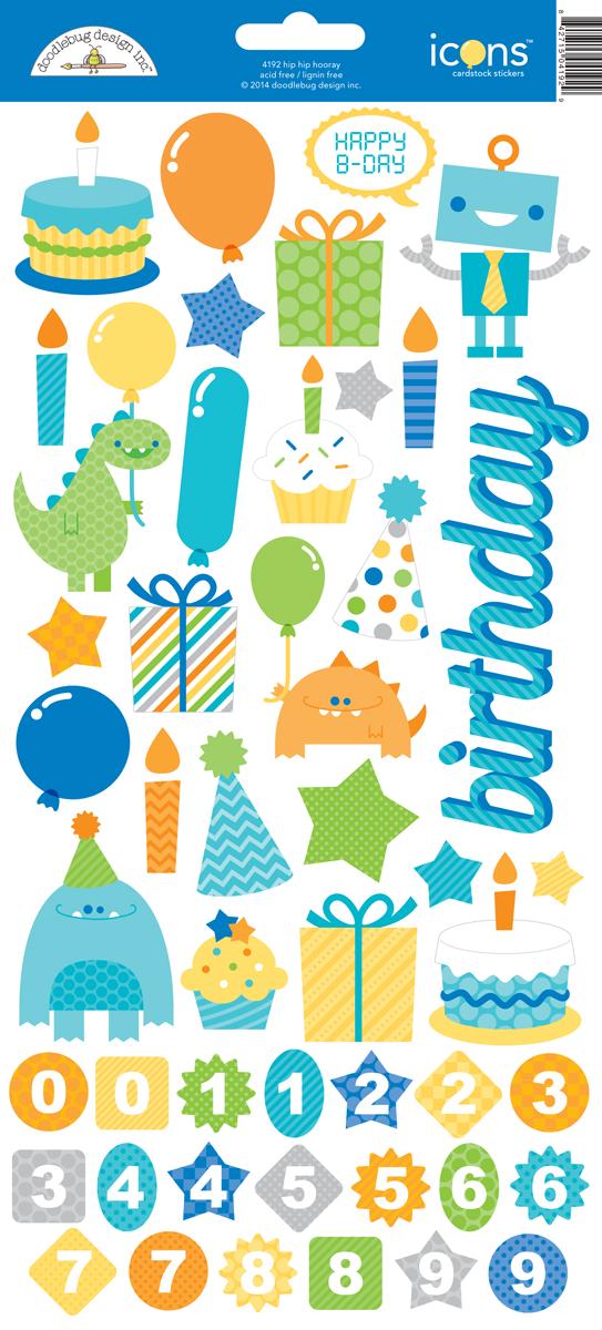 #1212 Hip Hip Hooray Cardstock Stickers