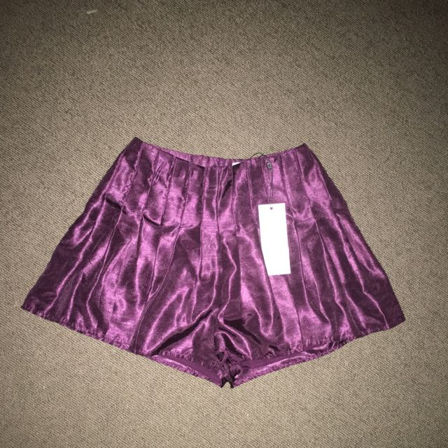 KEEPSAKE The Label Burgundy Silk Shorts