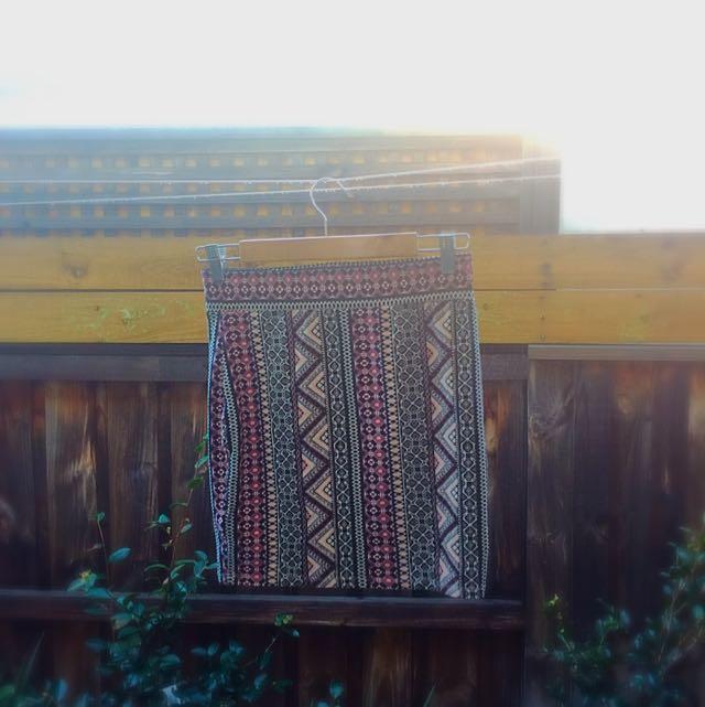 New Look Aztec Bodycon Skirt