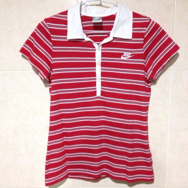 NIKE 紅白橫條紋T恤 L號