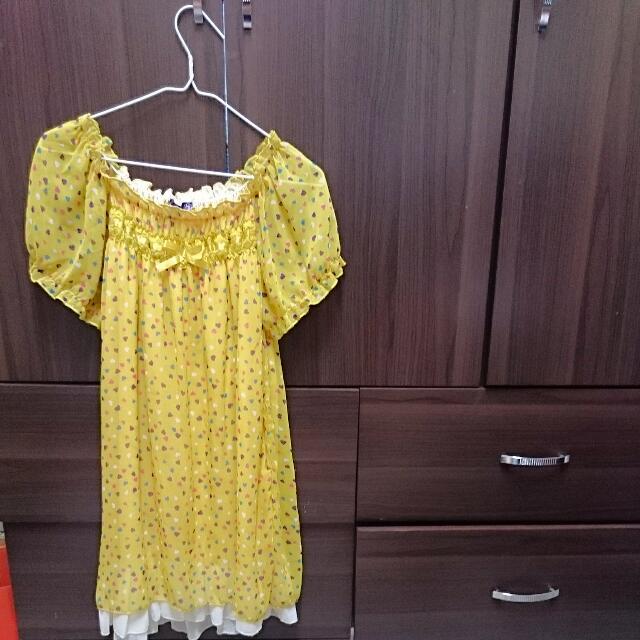 OB黃色點點雪紡長板衣 含運