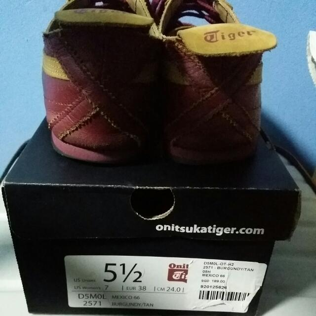 sneakers for cheap 07c5f c1d07 Onitsuka Tiger Burgundy/Tan, Women's Fashion on Carousell