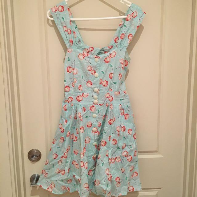 Teal 60s Style Cherry Print Open Back Skater Dress