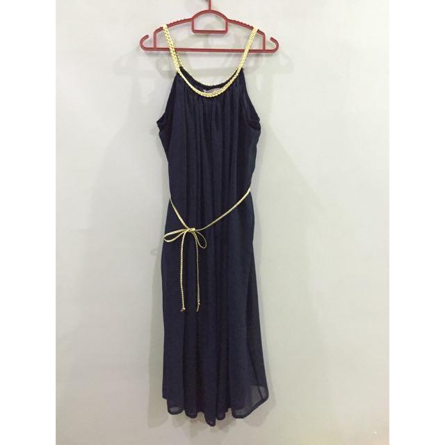 TEMT Navy Blue Dress With Gold Details