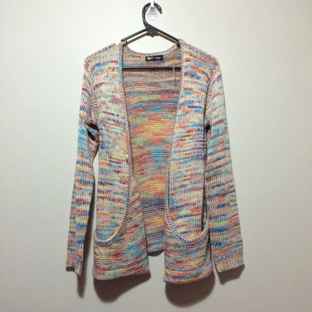 Thick Knit Rainbow Cardigan