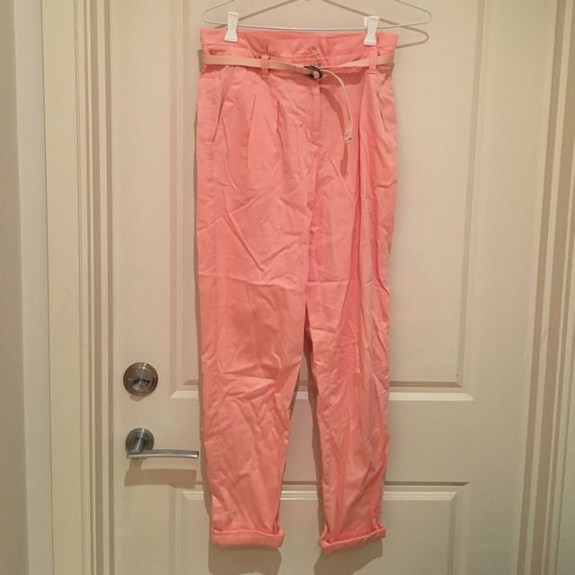 Topshop Peach Highwaisted Pants