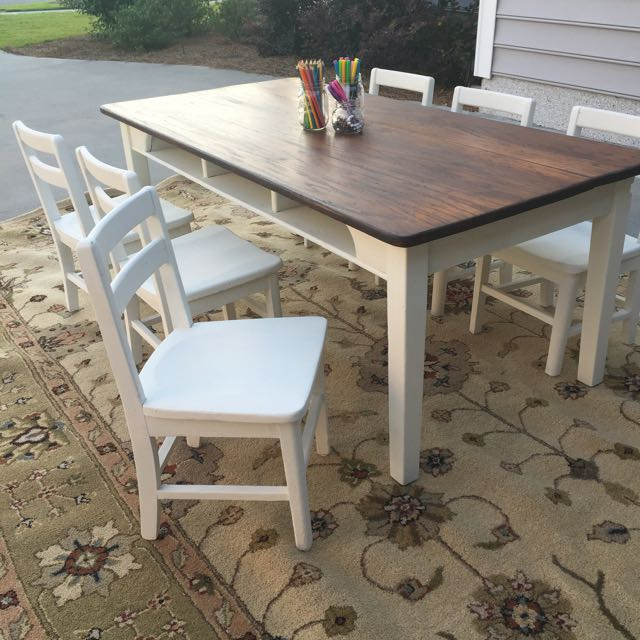 Vintage Solid Oak Children S Table With Six Chairs Vintage Collectibles On Carousell