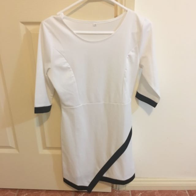 White 3/4 Sleeve Dress With Black Trimming