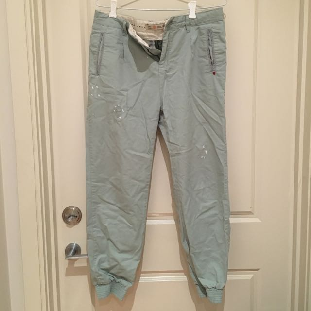 Zara Dusty Mint Boyfriend Trousers