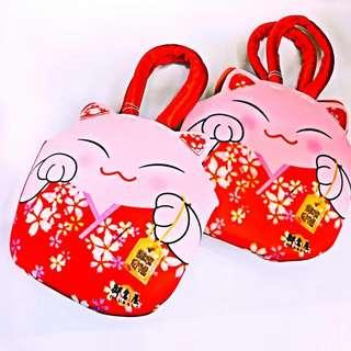 御倉屋OKURAYA  環保 手提袋 包包 袋子 日式喜餅提袋 櫻花和服招財貓 幸福御守包