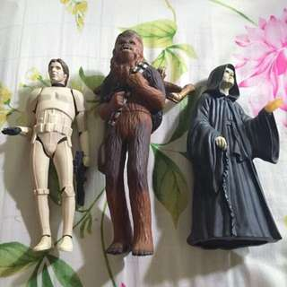 "Star Wars Applause Vintage 10"" Figures Set Of 3 Han Solo , Chewbacca With C3P0 & Darth Sidious"