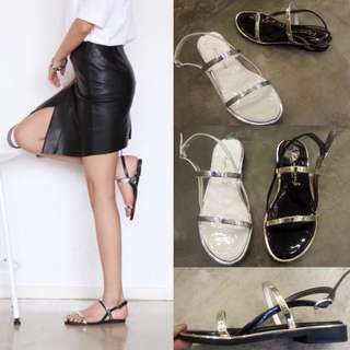 A84.韓國平底金屬綁帶氣質涼鞋