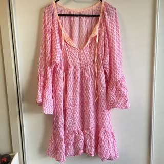 Hot Pink And Orange Swim Suit Cover Up Dress