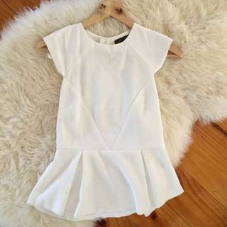 Ally - White Peplum Top