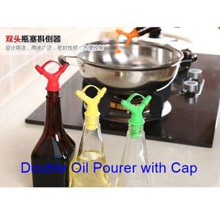 Double Kitchen Pourer with Cap for Olive Oil Vinegar Sesame Oil Soya Sauce Wine