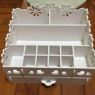 自帶款DIY大尺寸花邊白色鄉村風桌上收納盒