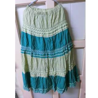 雙色蕾絲綠色長裙(二手)