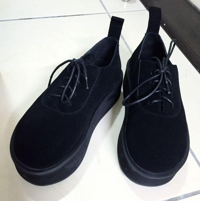 日系真皮厚底鞋