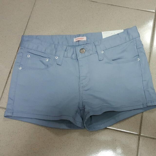 正韓水藍色牛仔短褲