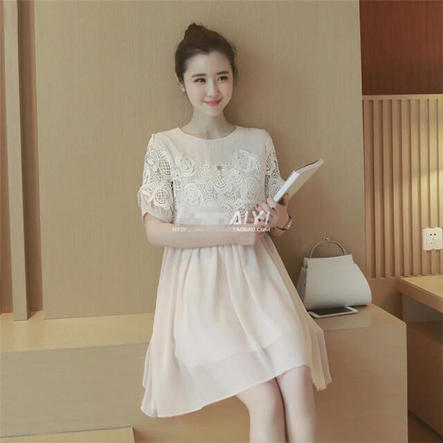 AFSS4276 大尺碼 雕花雪紡連衣裙(圖片色)