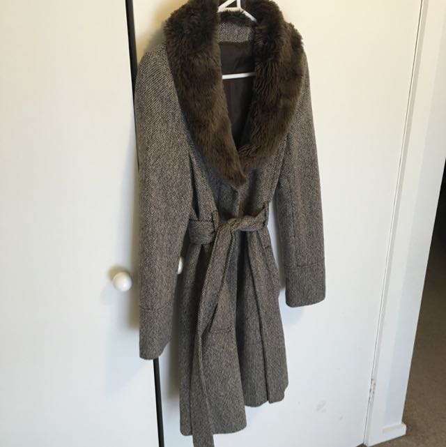 Faux Fur Collared Winter Trench Coat S12