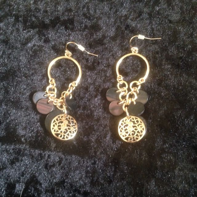 Gold And Black/Brown Earrings