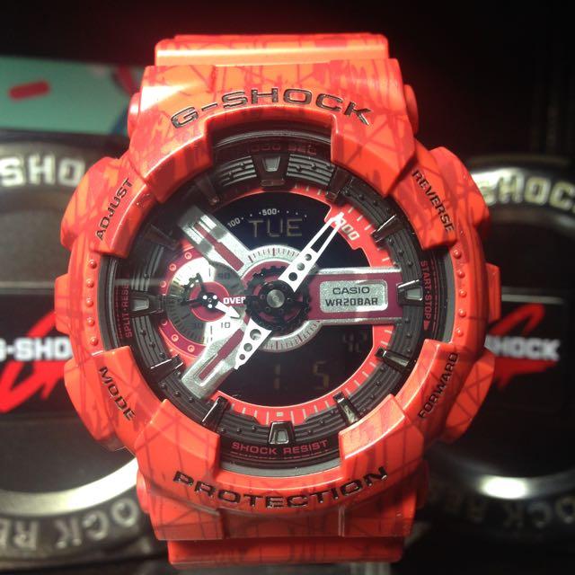 G-Shock Ga-110SL-4刀割紅