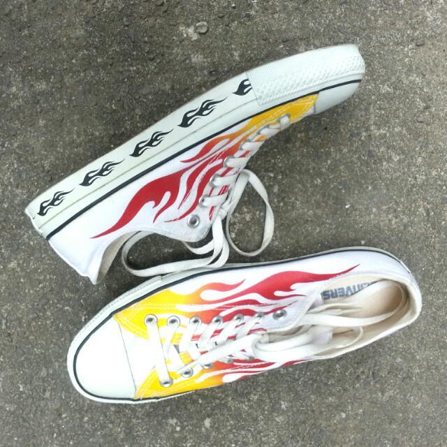 Japan All Star Converse Vintage 古著 火焰 帆布鞋 二手 日本 白色白底 Thrasher
