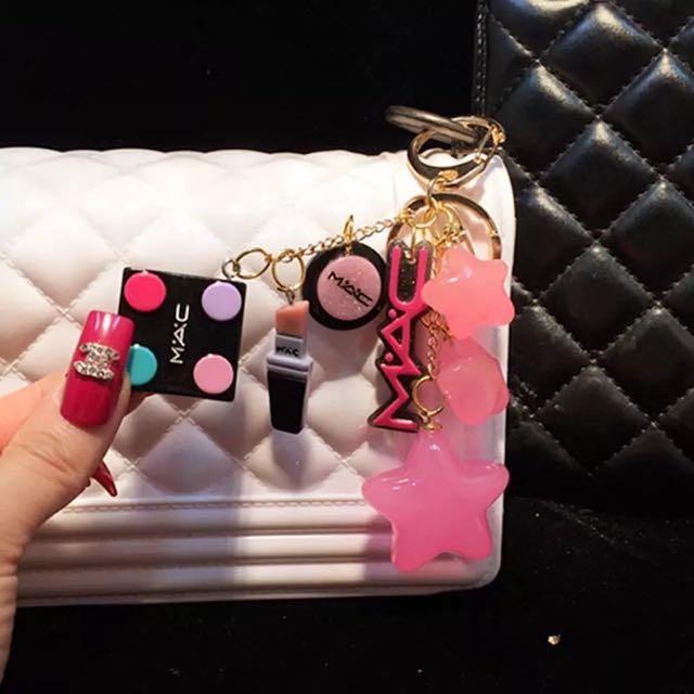 Mac糖果色系星星化妝品套裝鑰匙圈 汽車鑰匙扣吊墜 化妝品牌星星包包吊飾