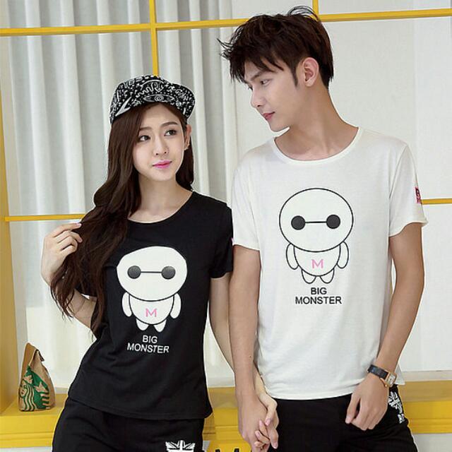 日韓N12627 情侶裝--日韓版大碼上衣T恤(2色入)
