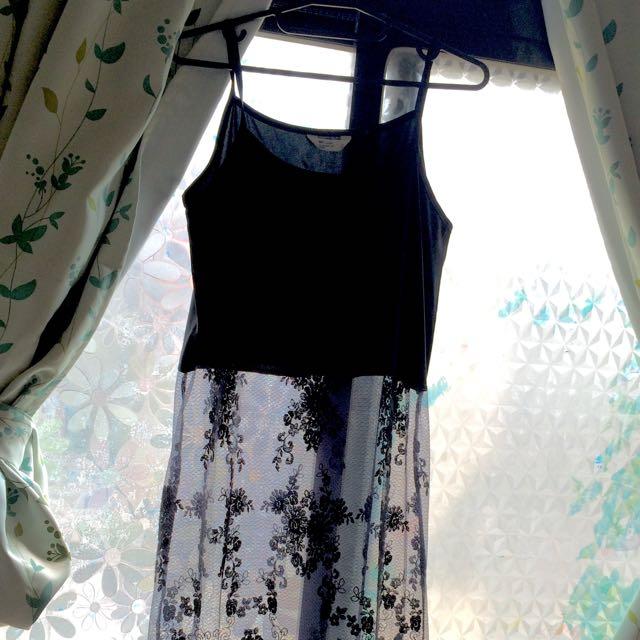 NET 無袖蕾絲連身裙 吊嘎 半透長裙 外搭 內襯