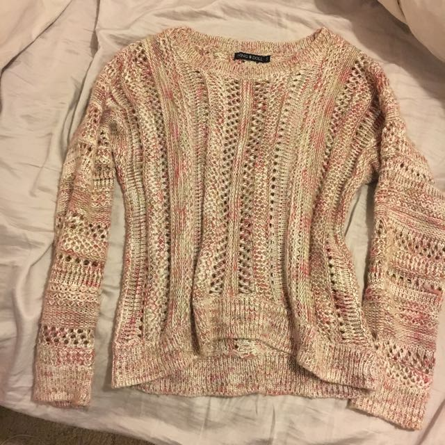 Pink/white/gold Knitted Jumper