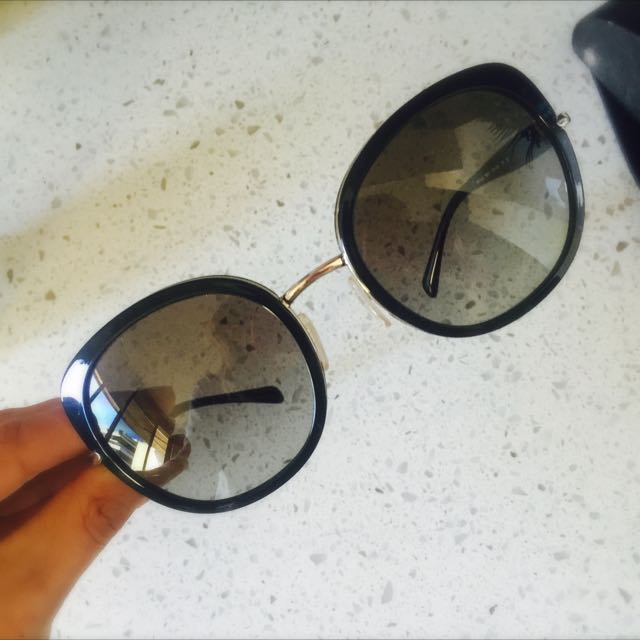Prada Cat Eye Black & Gold Sunglasses SPR 520