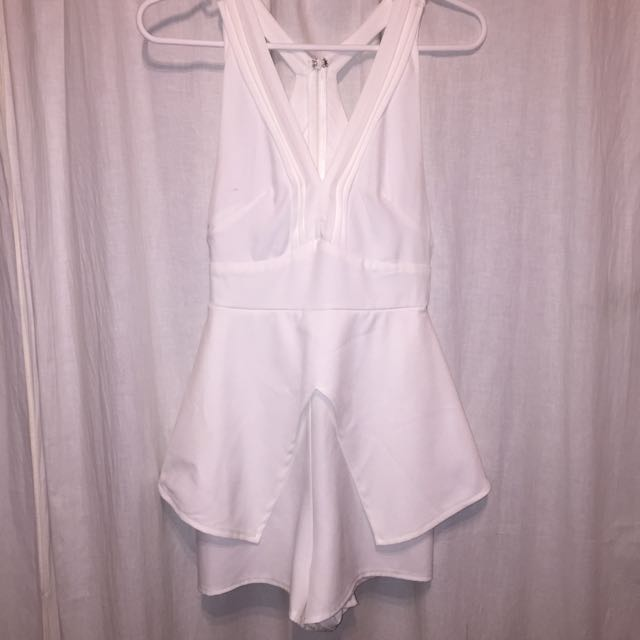 White Detailed Playsuit