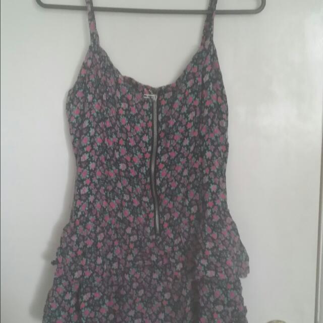 Zipper Front Floral Dress