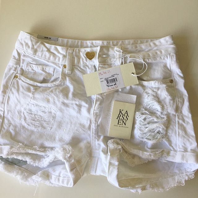 BNWT Zoe Karssen Low Rise Boyfriend Denim Shorts In White