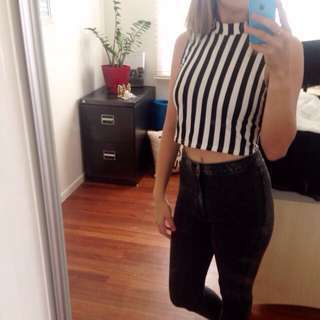 Black/white Striped Turtleneck Crop