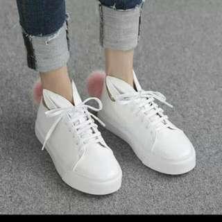(訂製款)可愛兔子絨球平底白鞋 兔耳鞋