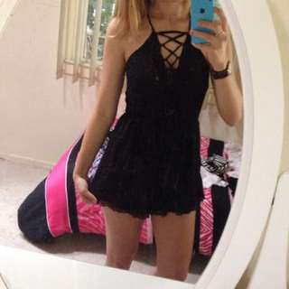 Black Backless, Lace Trim Play suit