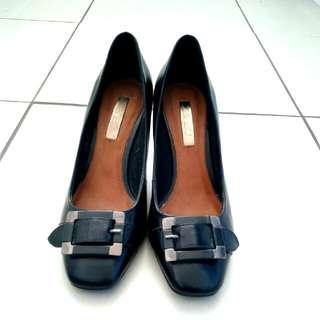 Zenzu Darcie Black Leather Heels Pumps Shoes Sz 8