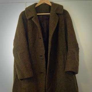 Moss Green Winter Alpaca Wool Coat