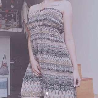 平口圖騰雪紡洋裝(全新)