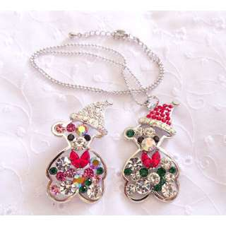 Cute Christmas Bear Silver Pin and Necklace