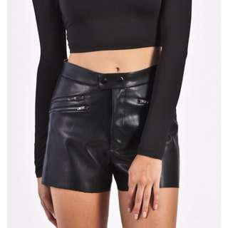 NEW Black Leather Look Shorts by Wilde Heart Size:8
