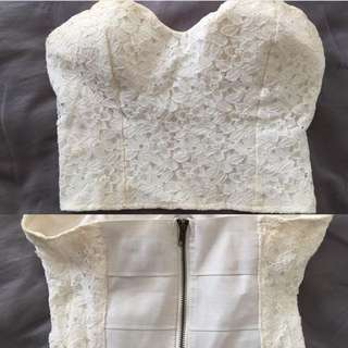 Strapless / Boob Tube Lace White Crop
