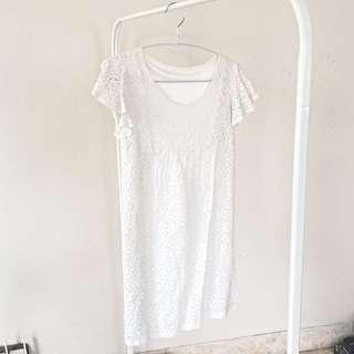 Preloved White Crochet Dress