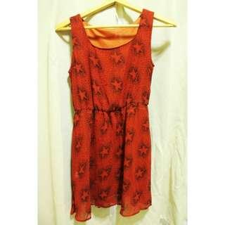 紅色無袖星星連身裙洋裝